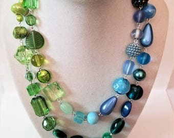 Blue and Green Long Necklace Wrap, Bead Pin Beaded Jewelry, Adjustable with Clasp