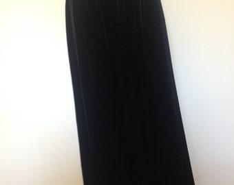 90s Black Velvet Maxi Skirt MSK