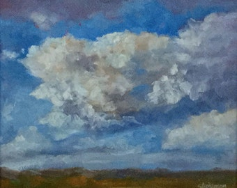 "Original Oil Painting Framed Clouds ""Rolling on By"""