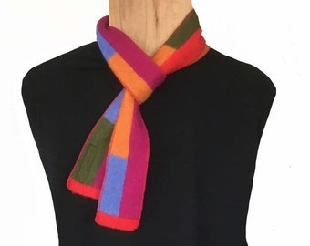 Cashmere Scarf,Skinny Scarf,knit w/ Loro Piana Yarn,Neckerchief ,Rainbow,Multicolor,,Mothers Day Gift,FabricJewelry,ColorBlock,Striped,