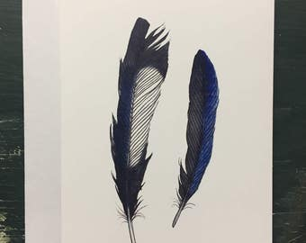 Blank Greeting Card, Magpie + Jay Feathers