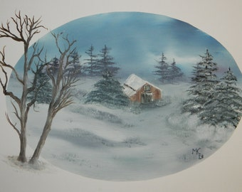 Oil painting landscape,Snowscape Oil Painting With Barn
