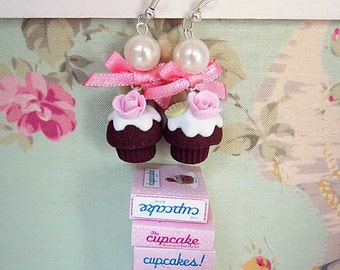Rose Cupcake earrings, Polymer Clay earrings with Cute Cupcakes and bow, Miniature Food