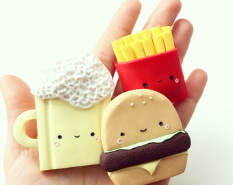 Super Kawaii Magnets, Set of 3 Cute Magnets with Junk Food, Best Friends Magnets, Miniature Food