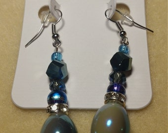 Metallic Blue Dangle Earrings in Silver