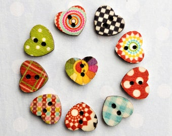10 small wooden buttons in heart shape, mixed colors. Buttons, deco pens, scrapbooking.