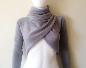 Wrap Around Long Sleeve Crop Top Sweater Grey