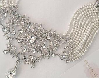 Hollywood Glam Bridal Necklace--Old Hollywood Necklace--Pearls--Glam Wedding Necklace--Bridal Wedding Jewelry--Rhinestone-- Free Shipping!