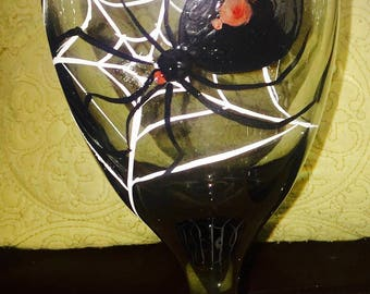 Hand pained Black Widow Spider goblet