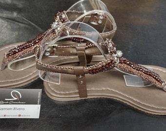 T Strap Sandals, Dress Sandals, Brown Sandals, Beaded Sandals, Flat Sandals, Thong Sandals, Summer Sandals, Ladies Sandals, Womens Sandals