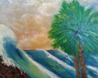 A pastel beach