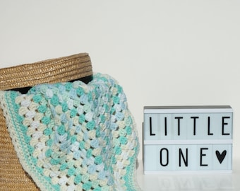 handmade crochet baby blanket / green mint yellow & white / baby boy / baby girl / new baby / baby shower gift / crib cot / granny stripe