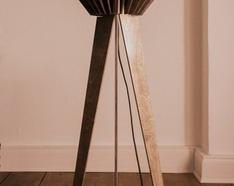 Wood floor lamp in a Scandinavian style