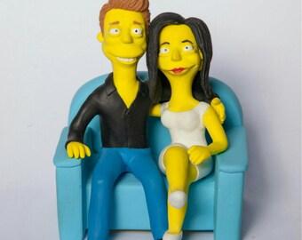 Simpsons portrait, family portrait, simpsons cake topper, custom portrait, simpsons style, simpsons art,