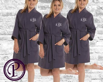 Set of 9 Charcoal Waffle Kimono Bridesmaid Robe, Monogrammed Robe, Embroidered Robe, Wedding Day Robe, Bridesmaid Gifts, Spa Robes