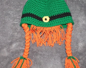 Crochet girls leprechaun beanie
