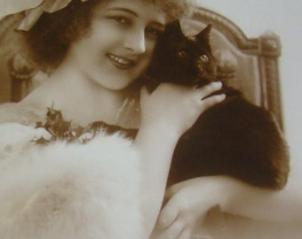 SALE Vintage RPPC of Girl and Her Cat #1