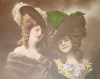 SALE Vintage Hand Tinted RPPC of Two Pretty Ladies Wearing Fabulous Hats # 5