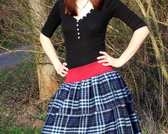 Playful blue Plaid skirt with red rib