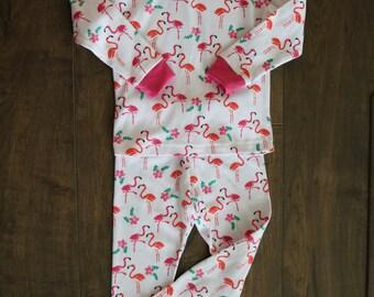 Hot Pink Flamingo Toddler Girl Pajama Set Size 4T