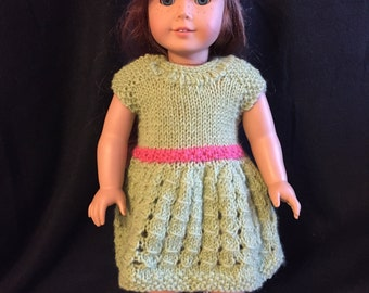 American girl doll knitted green outfit