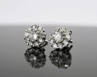 Sterling Silver White Sapphire Stud Earrings, 10 stones Floral Shape