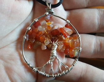 Tree of Life Pendant with Red Agate Chips