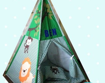 Jungle Childrens Teepee // Personalised with your Childs Name // Handmade Teepee