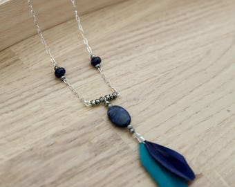 Necklace in 925, feathers and fine stones / Sodalite / Pyrite / blue / handmade / woman / gift idea