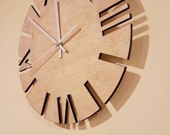 Wood Wall Clock, 12in diameter