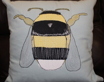 Handmade Bumble Bee cushion | freehand machine embroidery and applique | unique design