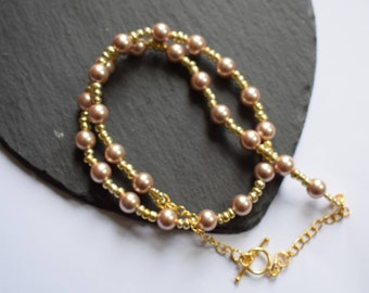 Champagne Shell Pearl and Seed Bead Gold Plated Necklace