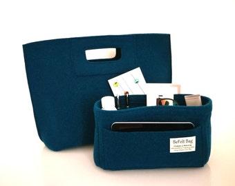 Elegant casual blue bag, felt bag, wool bag, hand bag, Italian bag, shopper, shopping bag + organizer, bag in bag, felt bag insert