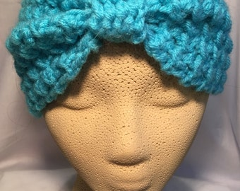 Bow Ear Warmer in Aqua