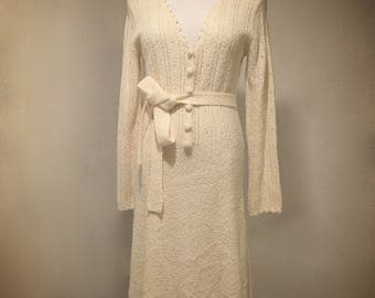 Vintage Lord & Taylor Cream Button-Up Knit Maxi Dress