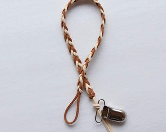 Cinnamon Brown & Ivory Braided Leather Pacifier Clip