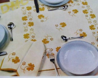 Vintage Embroidery Patterns-60's Floral Embroidery Design-Iron on Transfers for Table Cloth and Napkins-DMC 1960's Original Transfers