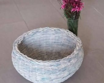 Eco Basket, Recycled Paper, Weaved Basket, Paper Art, Designed Art, Recycled Gift, Eco Friendly, Storage Box, Housewarming Gift, Unique Gift