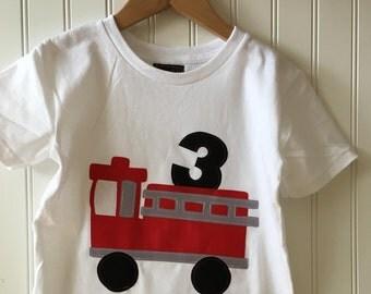 Firetruck 3rd birthday shirt. Completely customizable.  Fireman, firetruck birthday shirt, fire, fire chief, second birthday shirt party