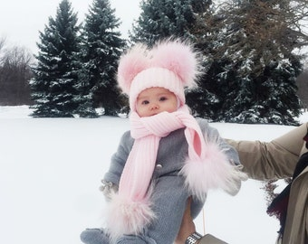 Baby Kids Girl Boys Kid Pom Pom Wool Fur Cute Winter Pink Blue White Grey Hat