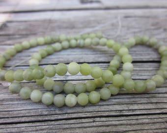 Round olive jade beads // Natural jade beads // 4mm round