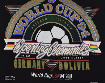 Vintage 90s 1994 World Cup Soccer Chicago Germany Bolivia Trench T shirt Mens XL Black 91