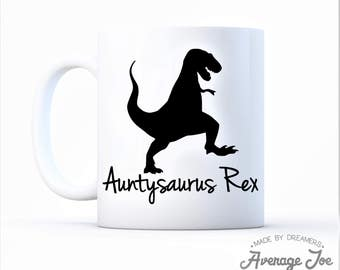 Gift for Aunt Auntie Mug Auntysaurus Dinosaur Trex T-rex Baby Shower Pregnancy Announcement Baby Reveal Rex 2018 Sister In Law Party Dino