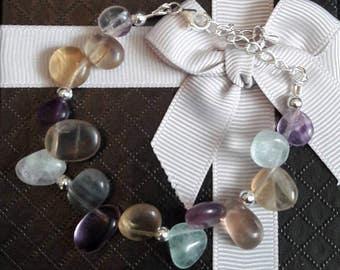 Rainbow Fluorite sterling silver gemstone bracelet