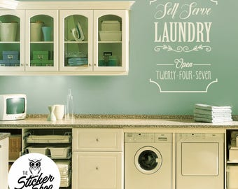 Laundry Wall Decal - Self Serve Laundry Open 24-7