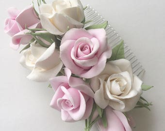 Wedding bridal comb  with white and pink roses polymer clay flower, floral hair comb, white rose flower wedding flowers