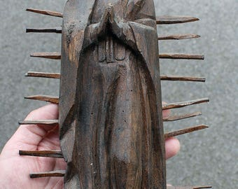 Vintage Mexican Virgin Mary Guadalupe Wood Carving Statue