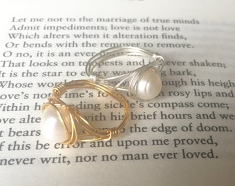 Freshwater pearl wire wrapped ring