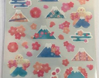 Washi Sticker - Mt. Fuji and Sakura Design - Sticker Pack - Planner Sticker - Decorative Sticker - Japanese Sticker - Fancy Sticker - Kawaii