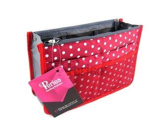 Periea Red With White Polka Dots Handbag Organiser - Size Medium